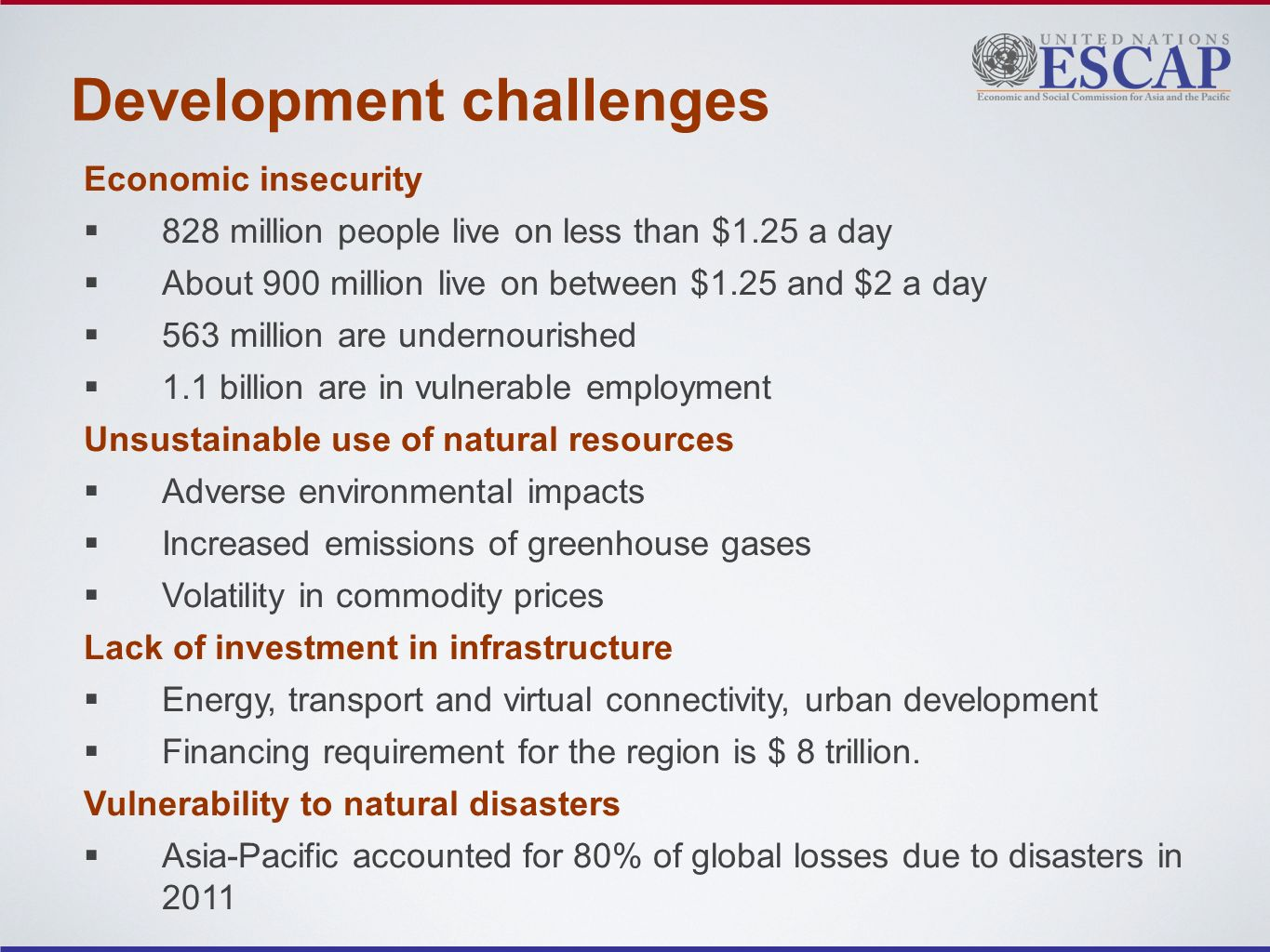 Development challenges Economic insecurity 828 million people live on less than $1.25 a day About 900 million live on between $1.25 and $2 a day 563 million are undernourished 1.1 billion are in vulnerable employment Unsustainable use of natural resources Adverse environmental impacts Increased emissions of greenhouse gases Volatility in commodity prices Lack of investment in infrastructure Energy, transport and virtual connectivity, urban development Financing requirement for the region is $ 8 trillion.