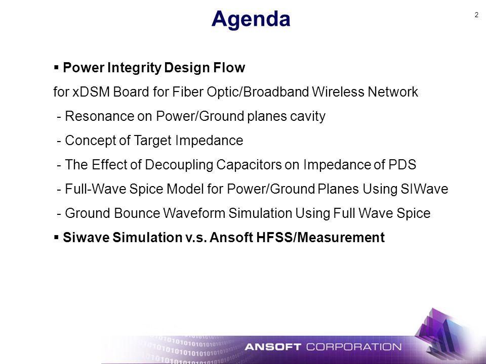 2 Agenda Power Integrity Design Flow for xDSM Board for Fiber Optic/Broadband Wireless Network - Resonance on Power/Ground planes cavity - Concept of