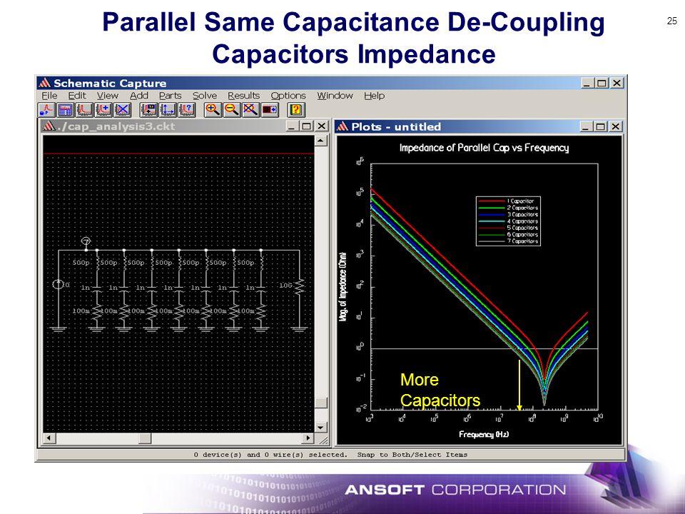 25 Parallel Same Capacitance De-Coupling Capacitors Impedance More Capacitors