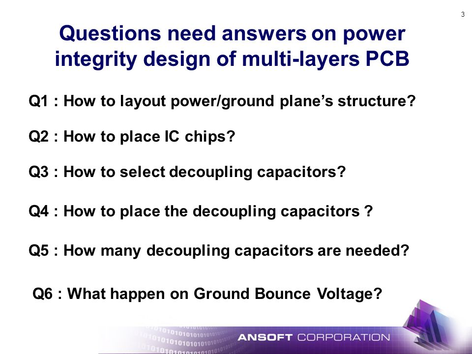 3 Q1 : How to layout power/ground planes structure.
