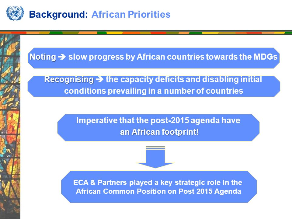 Background: African Priorities Noting Noting slow progress by African countries towards the MDGs Recognising Recognising the capacity deficits and disabling initial conditions prevailing in a number of countries Imperative that the post-2015 agenda have an African footprint.