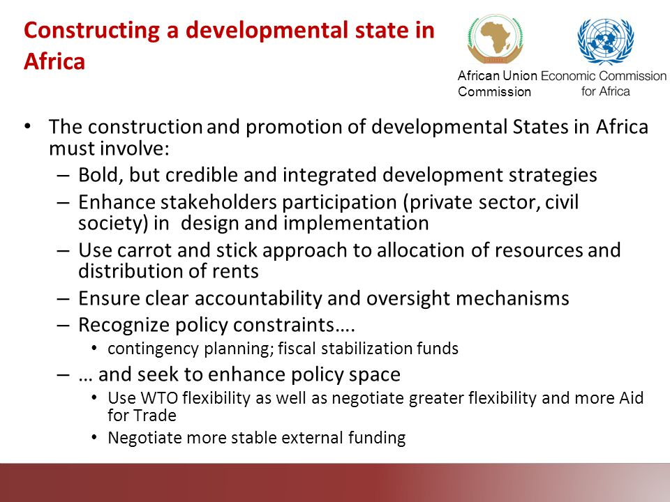 African Union Commission Constructing a developmental state in Africa The construction and promotion of developmental States in Africa must involve: –