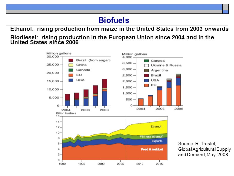 Biofuels Ethanol: rising production from maize in the United States from 2003 onwards Biodiesel: rising production in the European Union since 2004 and in the United States since 2006 Source: R.