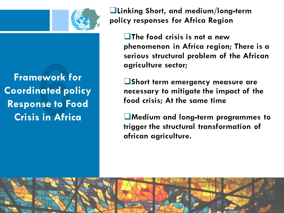 Linking Short, and medium/long-term policy responses for Africa Region The food crisis is not a new phenomenon in Africa region; There is a serious structural problem of the African agriculture sector; Short term emergency measure are necessary to mitigate the impact of the food crisis; At the same time Medium and long-term programmes to trigger the structural transformation of african agriculture.