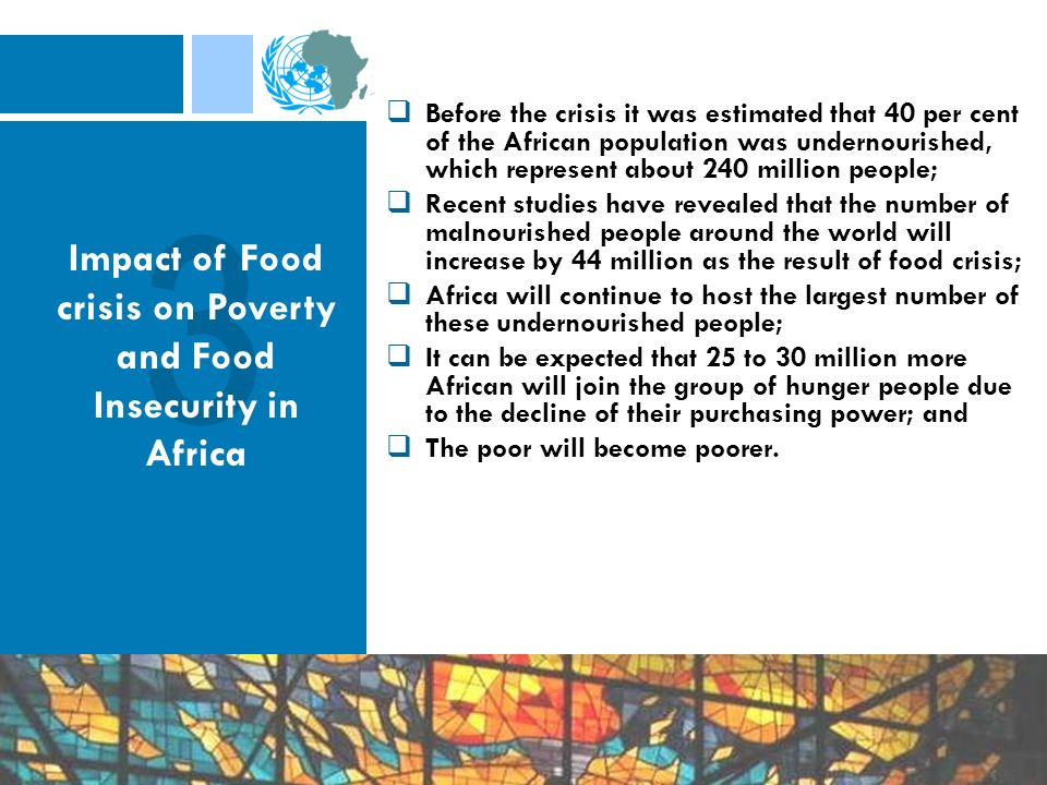 Before the crisis it was estimated that 40 per cent of the African population was undernourished, which represent about 240 million people; Recent stu