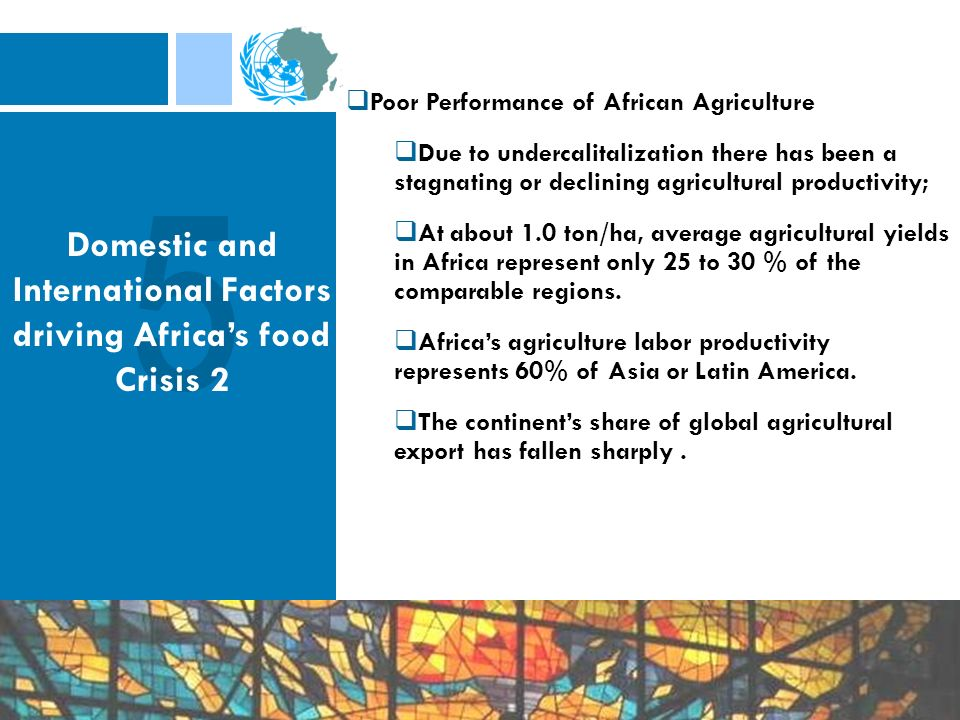 Poor Performance of African Agriculture Due to undercalitalization there has been a stagnating or declining agricultural productivity; At about 1.0 to