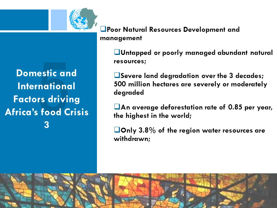 Poor Natural Resources Development and management Untapped or poorly managed abundant natural resources; Severe land degradation over the 3 decades; 500 million hectares are severely or moderately degraded An average deforestation rate of 0.85 per year, the highest in the world; Only 3.8% of the region water resources are withdrawn; Domestic and International Factors driving Africas food Crisis 3