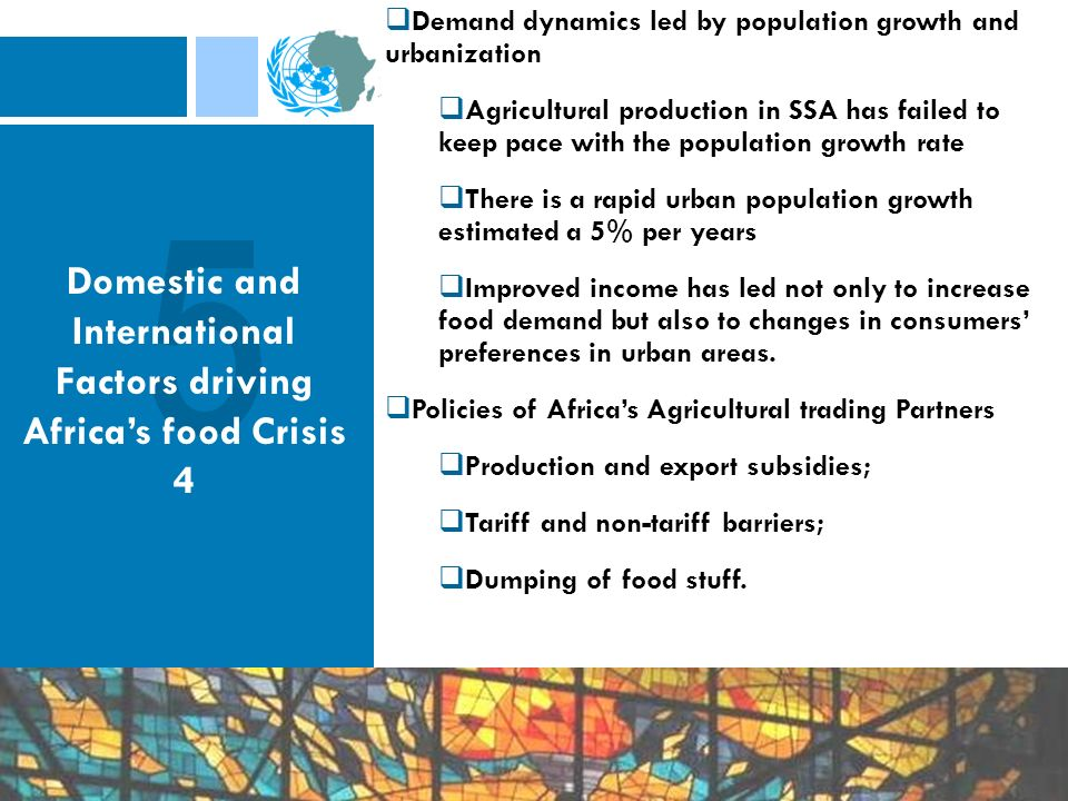 Demand dynamics led by population growth and urbanization Agricultural production in SSA has failed to keep pace with the population growth rate There