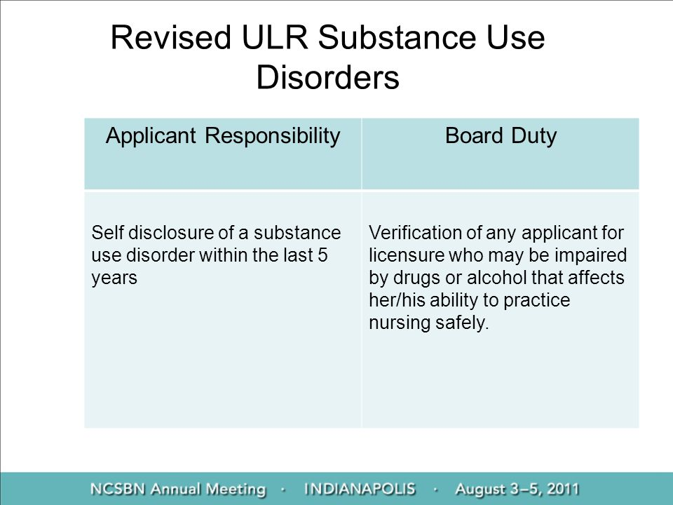 Revised ULR Substance Use Disorders Applicant ResponsibilityBoard Duty Self disclosure of a substance use disorder within the last 5 years Verificatio
