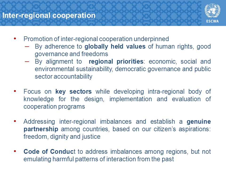 Promotion of inter-regional cooperation underpinned – By adherence to globally held values of human rights, good governance and freedoms – By alignment to regional priorities: economic, social and environmental sustainability, democratic governance and public sector accountability Focus on key sectors while developing intra-regional body of knowledge for the design, implementation and evaluation of cooperation programs Addressing inter-regional imbalances and establish a genuine partnership among countries, based on our citizens aspirations: freedom, dignity and justice Code of Conduct to address imbalances among regions, but not emulating harmful patterns of interaction from the past Inter-regional cooperation