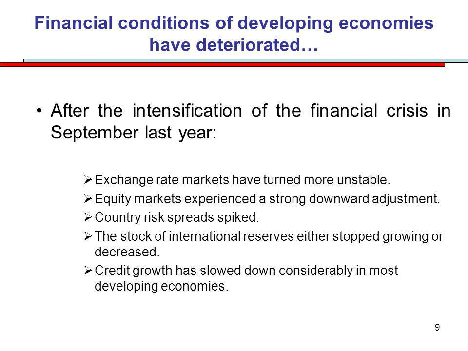 9 Financial conditions of developing economies have deteriorated… After the intensification of the financial crisis in September last year: Exchange rate markets have turned more unstable.