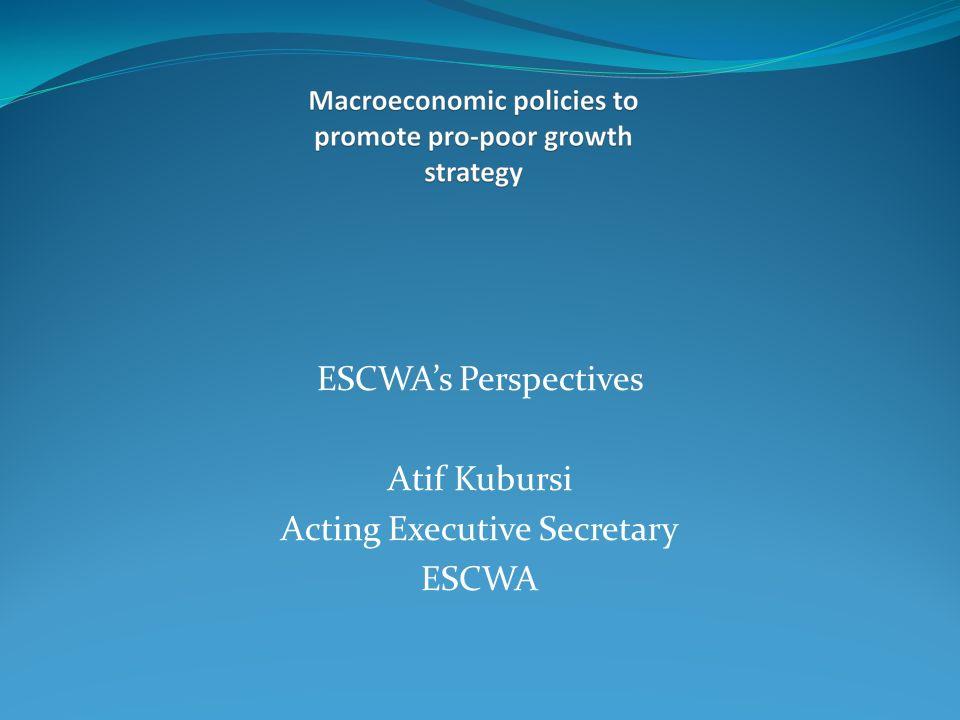 ESCWAs Perspectives Atif Kubursi Acting Executive Secretary ESCWA