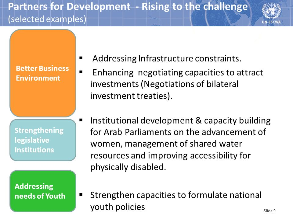 Slide 9 Partners for Development - Rising to the challenge (selected examples) Addressing Infrastructure constraints.