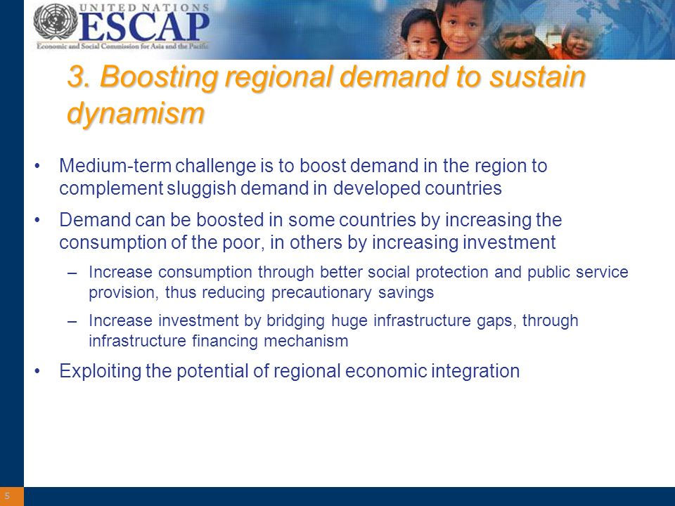 5 3. Boosting regional demand to sustain dynamism Medium-term challenge is to boost demand in the region to complement sluggish demand in developed co
