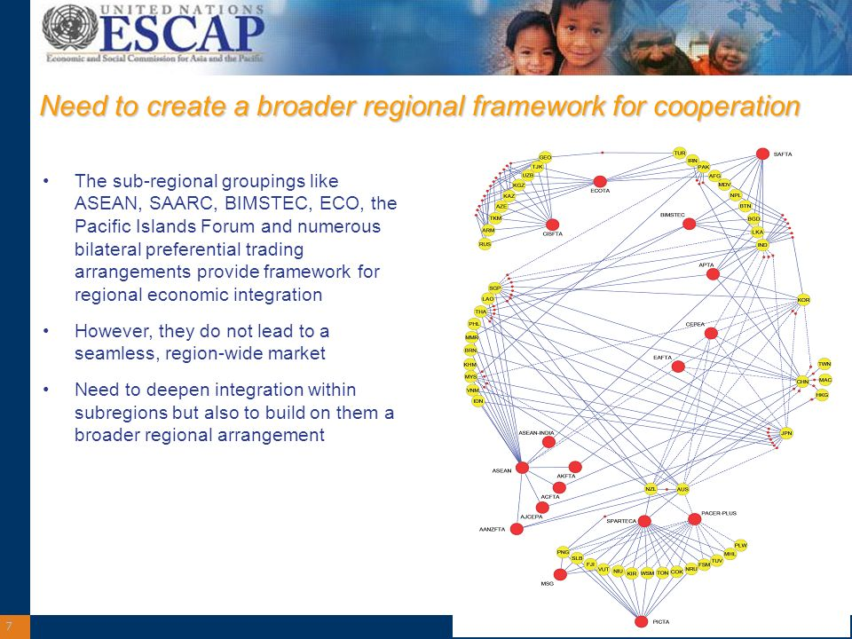 7 Need to create a broader regional framework for cooperation The sub-regional groupings like ASEAN, SAARC, BIMSTEC, ECO, the Pacific Islands Forum and numerous bilateral preferential trading arrangements provide framework for regional economic integration However, they do not lead to a seamless, region-wide market Need to deepen integration within subregions but also to build on them a broader regional arrangement