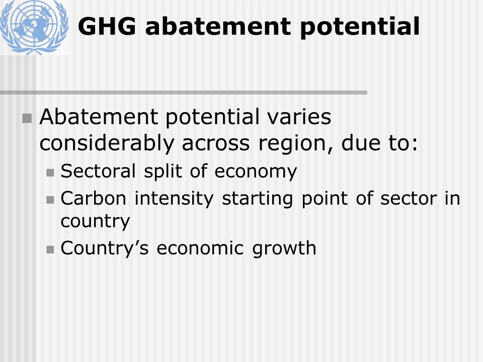 GHG abatement potential Abatement potential varies considerably across region, due to: Sectoral split of economy Carbon intensity starting point of sector in country Countrys economic growth