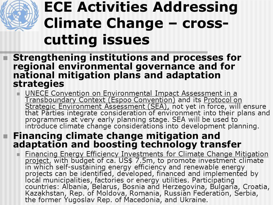 ECE Activities Addressing Climate Change – cross- cutting issues Strengthening institutions and processes for regional environmental governance and fo