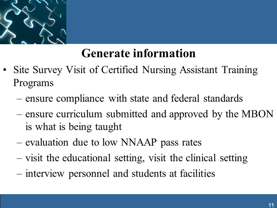 11 Generate information Site Survey Visit of Certified Nursing Assistant Training Programs –ensure compliance with state and federal standards –ensure