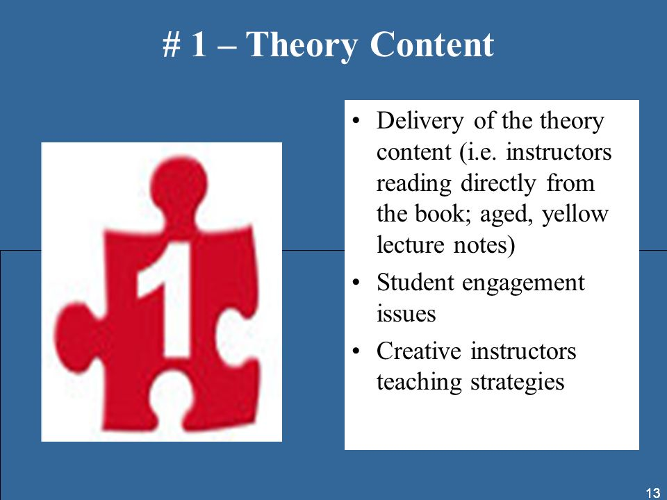 13 Delivery of the theory content (i.e. instructors reading directly from the book; aged, yellow lecture notes) Student engagement issues Creative ins