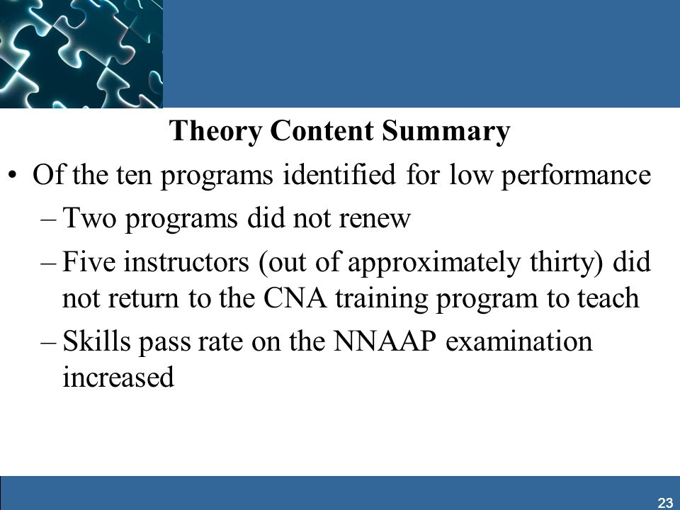 23 Theory Content Summary Of the ten programs identified for low performance –Two programs did not renew –Five instructors (out of approximately thirt