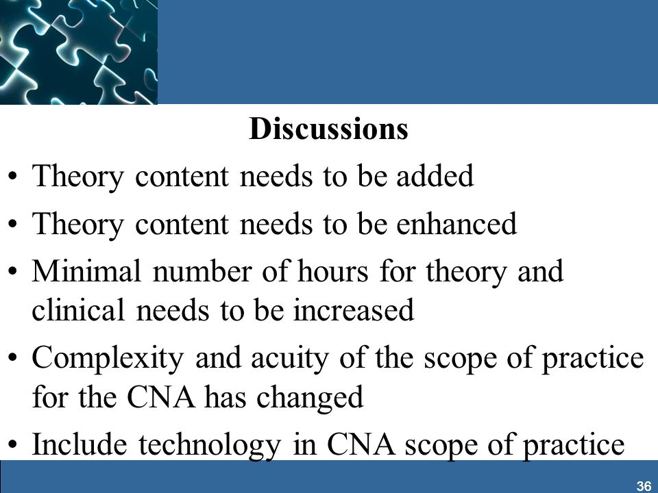 36 Discussions Theory content needs to be added Theory content needs to be enhanced Minimal number of hours for theory and clinical needs to be increa