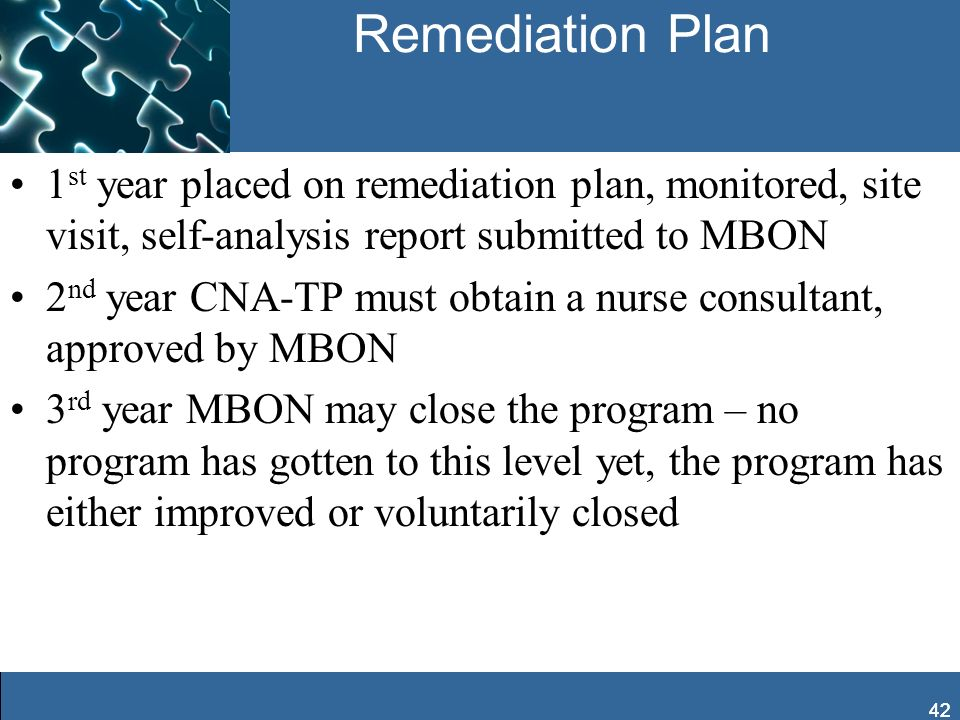 42 Remediation Plan 1 st year placed on remediation plan, monitored, site visit, self-analysis report submitted to MBON 2 nd year CNA-TP must obtain a