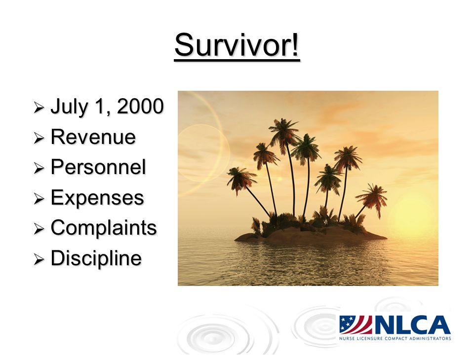 Survivor! July 1, 2000 July 1, 2000 Revenue Revenue Personnel Personnel Expenses Expenses Complaints Complaints Discipline Discipline
