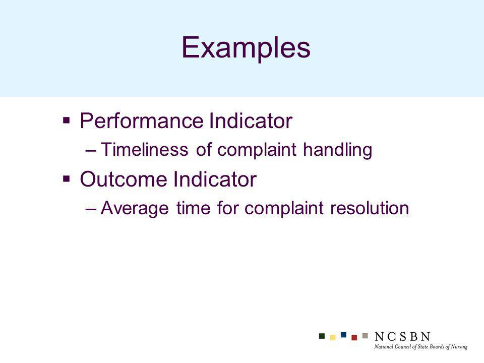 Examples Performance Indicator –Timeliness of complaint handling Outcome Indicator –Average time for complaint resolution