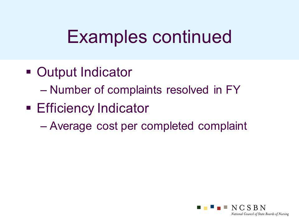 Examples continued Output Indicator –Number of complaints resolved in FY Efficiency Indicator –Average cost per completed complaint