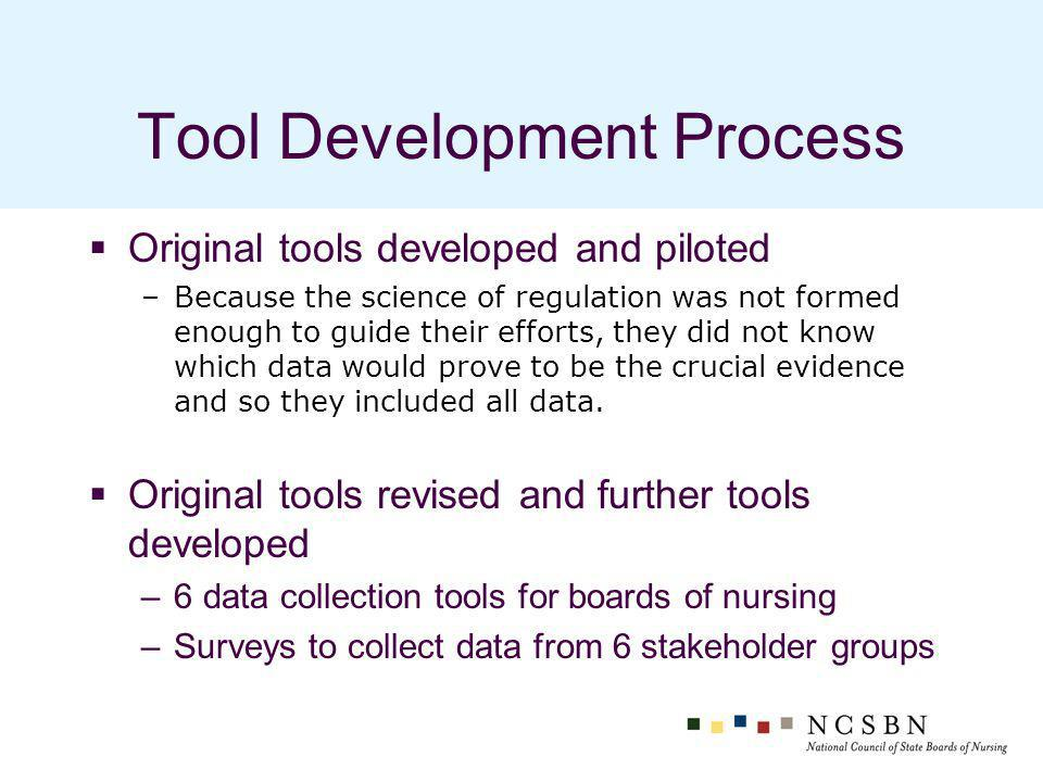 Tool Development Process Original tools developed and piloted –Because the science of regulation was not formed enough to guide their efforts, they did not know which data would prove to be the crucial evidence and so they included all data.