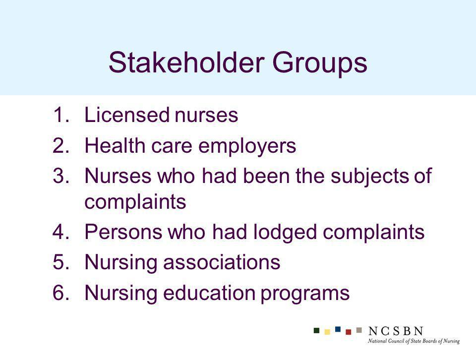 Stakeholder Groups 1.Licensed nurses 2.Health care employers 3.Nurses who had been the subjects of complaints 4.Persons who had lodged complaints 5.Nursing associations 6.Nursing education programs