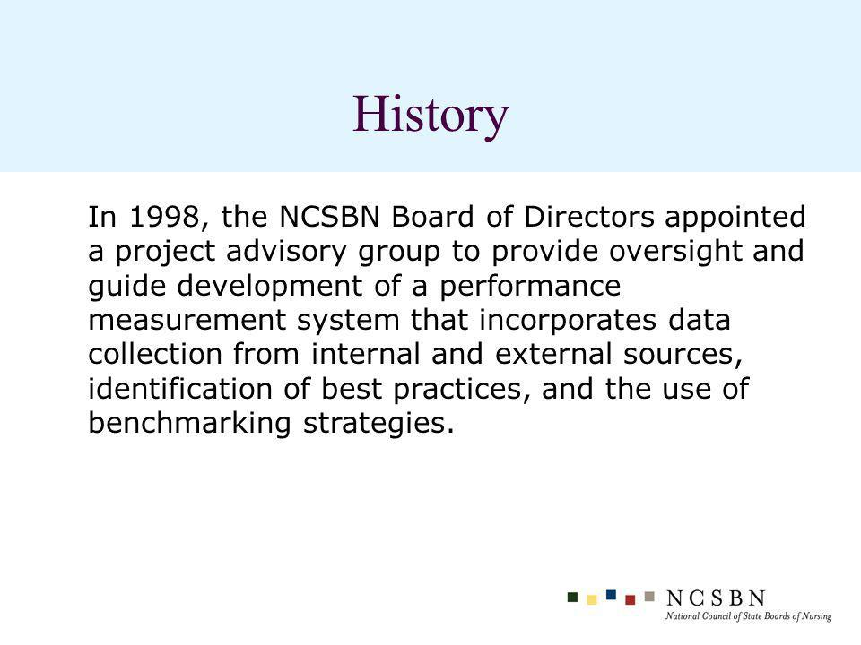 History In 1998, the NCSBN Board of Directors appointed a project advisory group to provide oversight and guide development of a performance measurement system that incorporates data collection from internal and external sources, identification of best practices, and the use of benchmarking strategies.