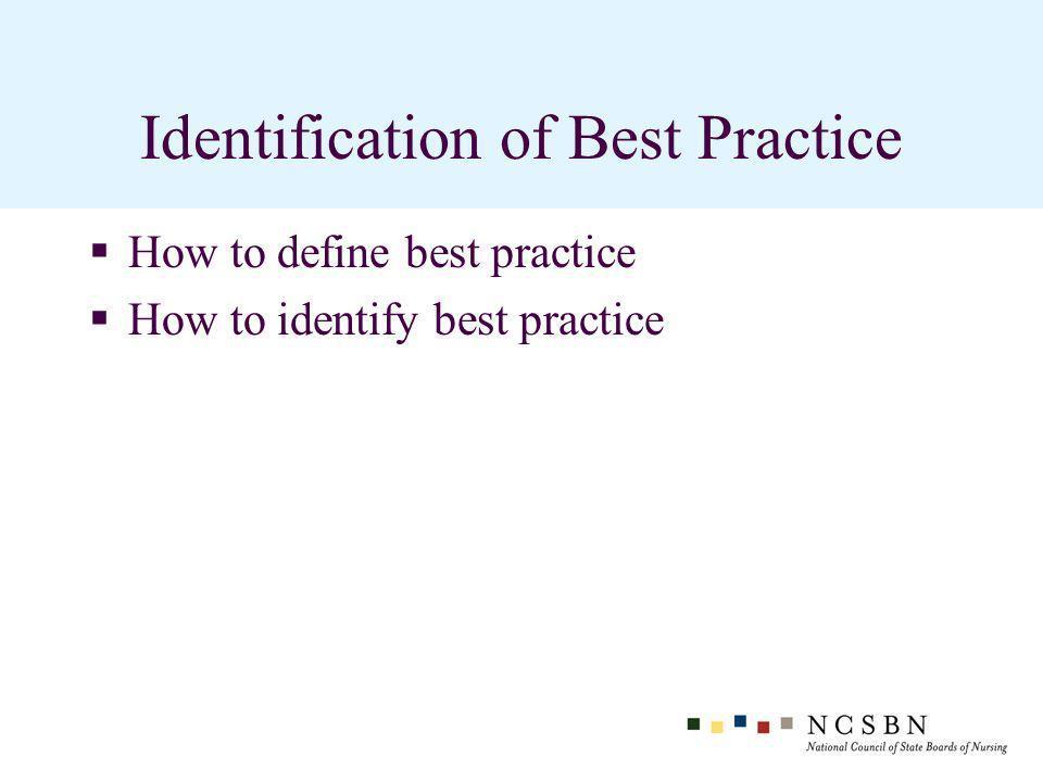 Identification of Best Practice How to define best practice How to identify best practice