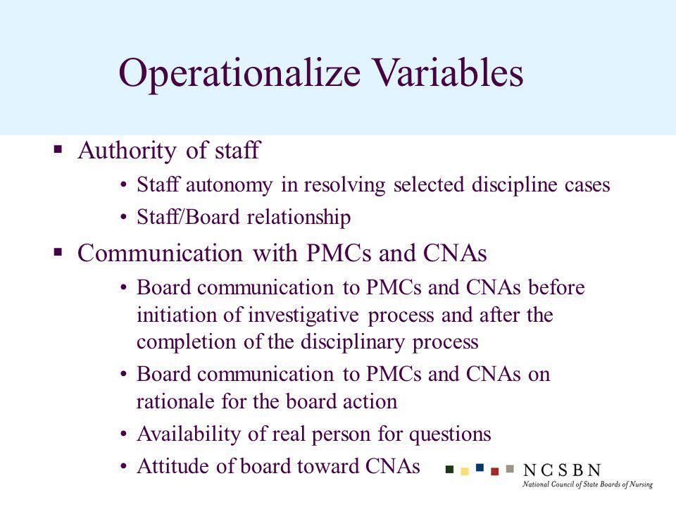 Operationalize Variables Authority of staff Staff autonomy in resolving selected discipline cases Staff/Board relationship Communication with PMCs and CNAs Board communication to PMCs and CNAs before initiation of investigative process and after the completion of the disciplinary process Board communication to PMCs and CNAs on rationale for the board action Availability of real person for questions Attitude of board toward CNAs