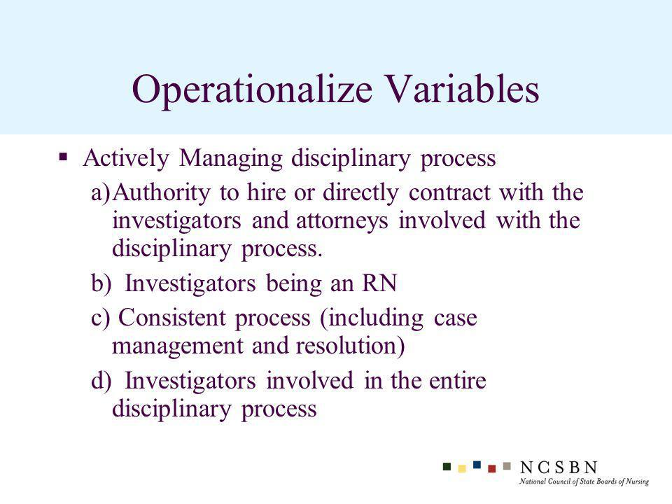 Operationalize Variables Actively Managing disciplinary process a)Authority to hire or directly contract with the investigators and attorneys involved with the disciplinary process.