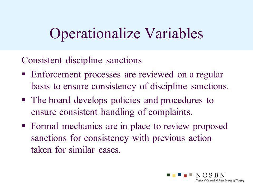 Operationalize Variables Consistent discipline sanctions Enforcement processes are reviewed on a regular basis to ensure consistency of discipline sanctions.