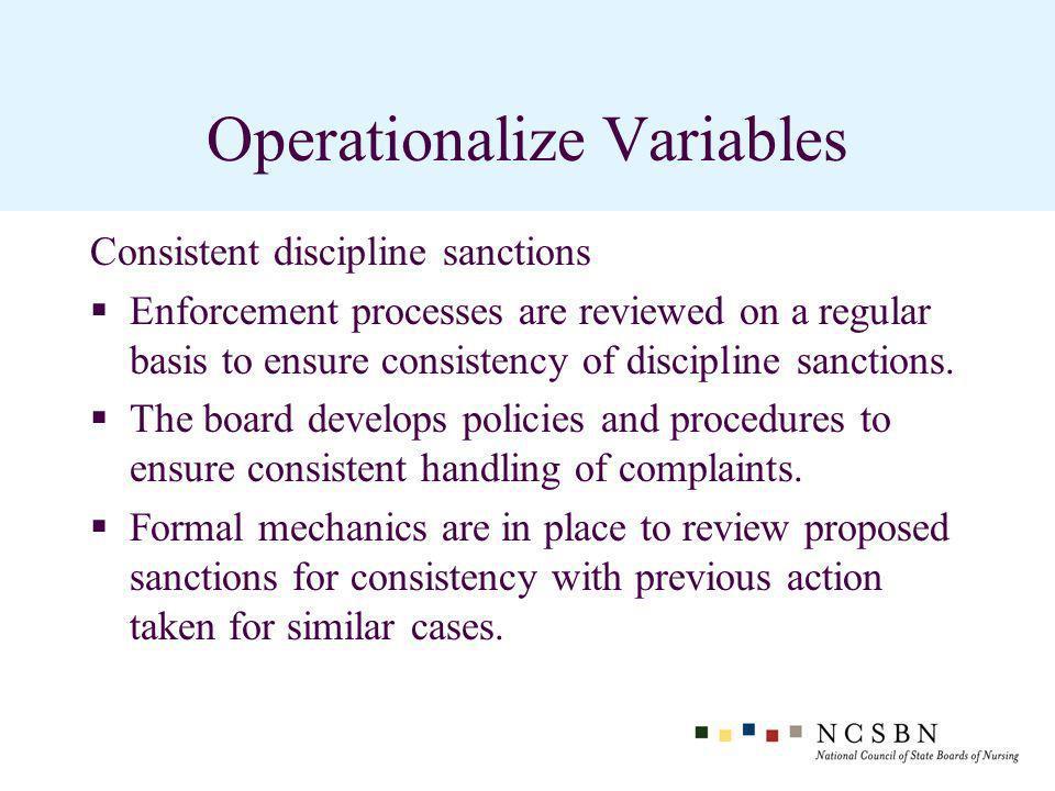 Operationalize Variables Consistent discipline sanctions Enforcement processes are reviewed on a regular basis to ensure consistency of discipline sanctions.