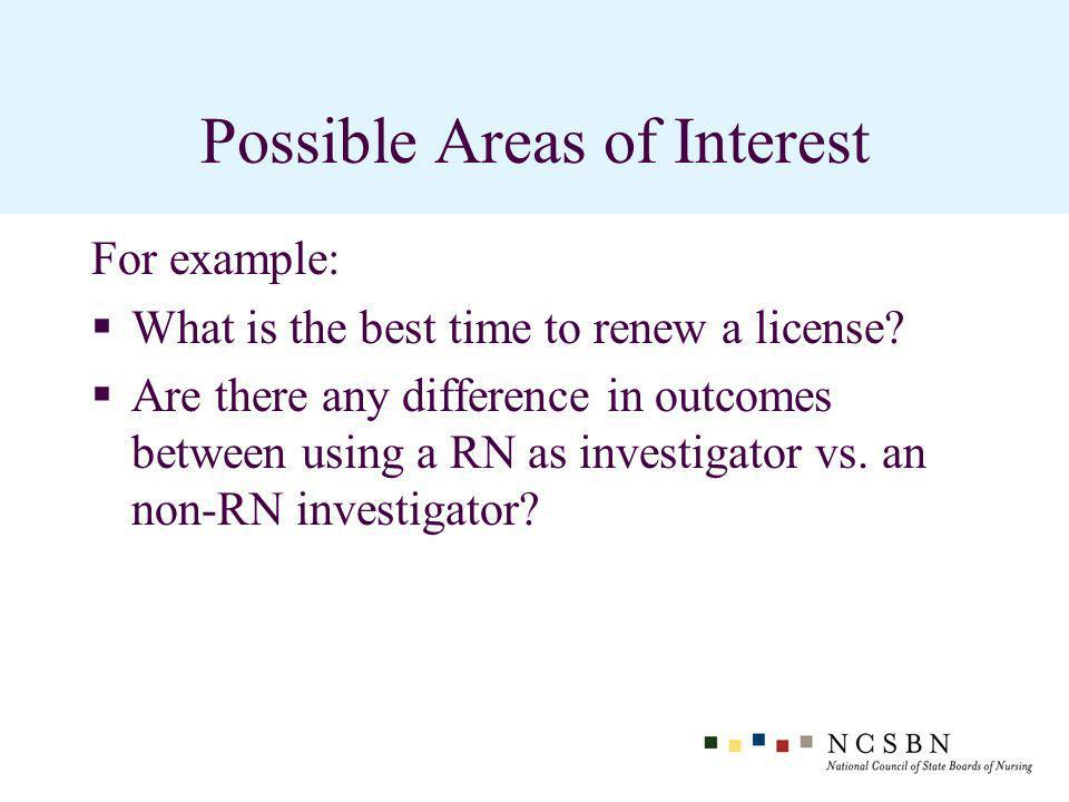 Possible Areas of Interest For example: What is the best time to renew a license.