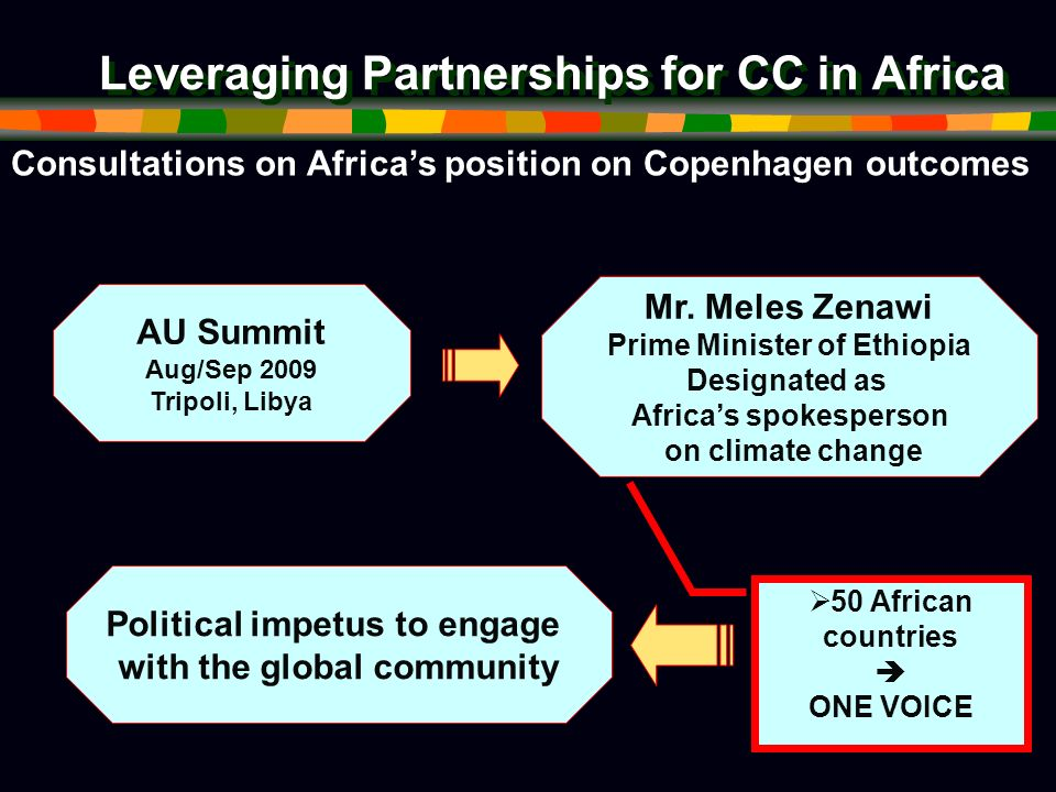 Leveraging Partnerships for CC in Africa Consultations on Africas position on Copenhagen outcomes AU Summit Aug/Sep 2009 Tripoli, Libya Mr.