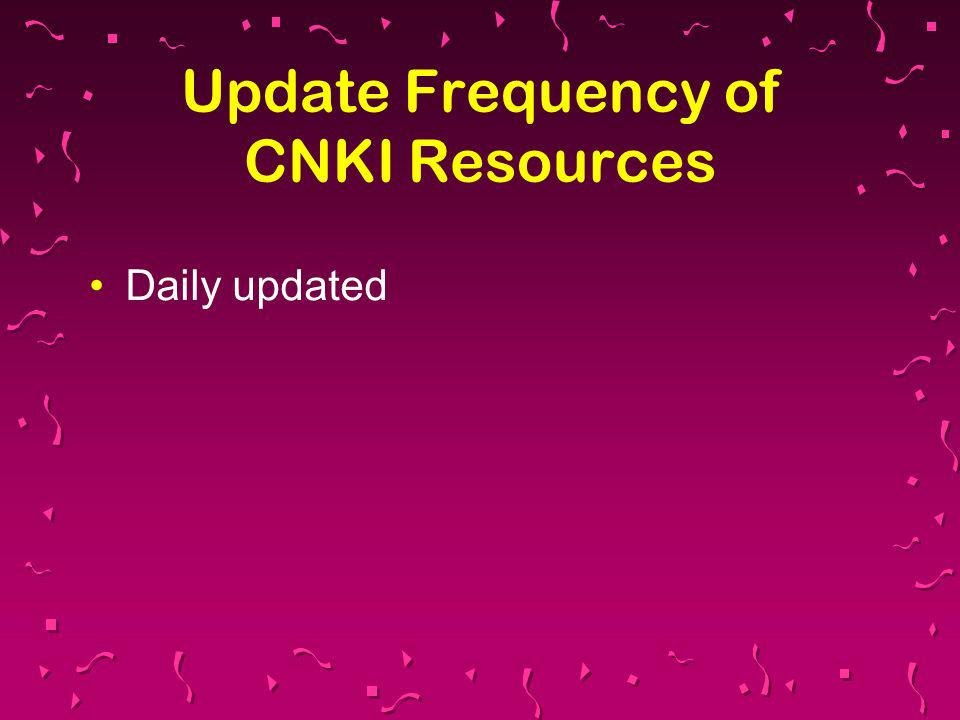 Update Frequency of CNKI Resources Daily updated