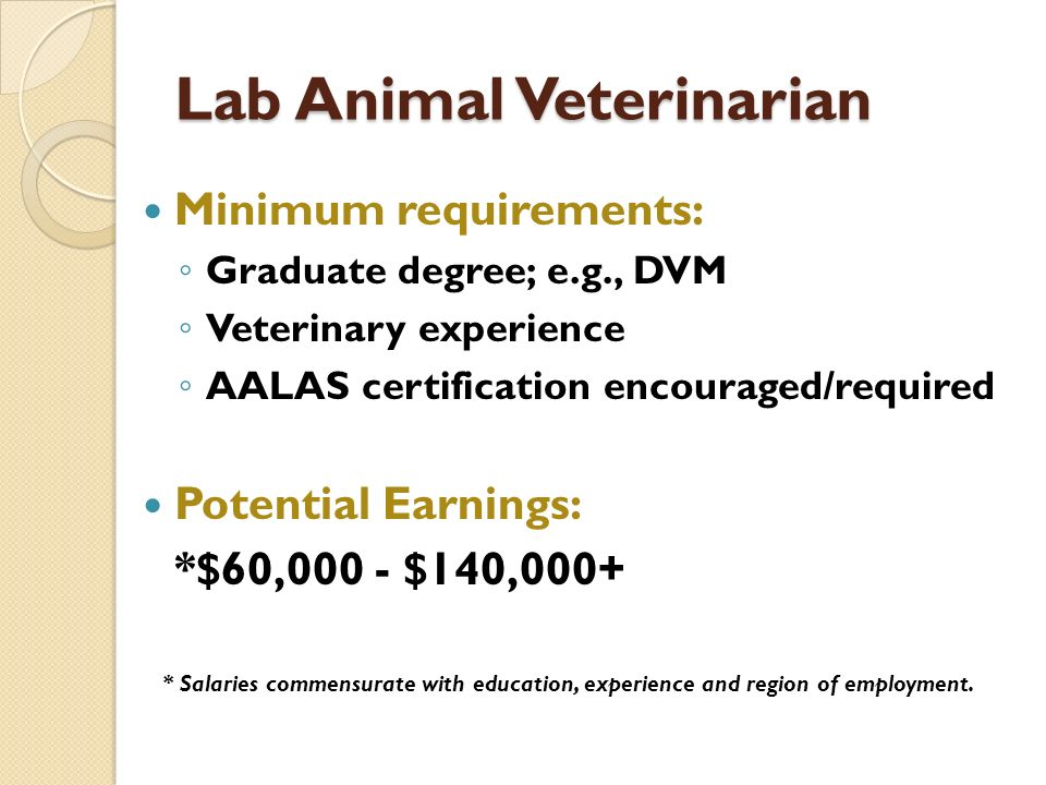 Lab Animal Veterinarian Minimum requirements: Graduate degree; e.g., DVM Veterinary experience AALAS certification encouraged/required Potential Earnings: *$60,000 - $140,000+ * Salaries commensurate with education, experience and region of employment.