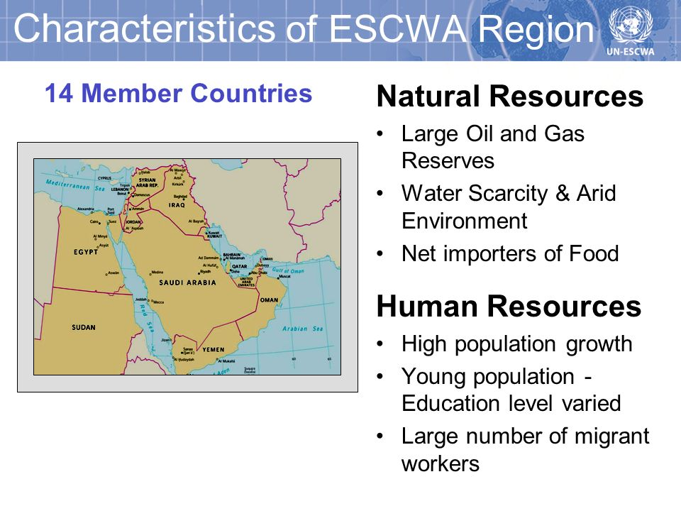 Characteristics of ESCWA Region Natural Resources Large Oil and Gas Reserves Water Scarcity & Arid Environment Net importers of Food Human Resources High population growth Young population - Education level varied Large number of migrant workers 14 Member Countries