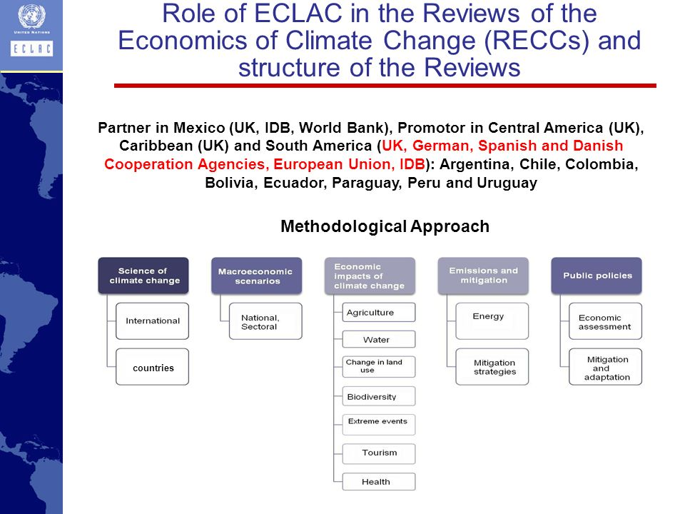 Role of ECLAC in the Reviews of the Economics of Climate Change (RECCs) and structure of the Reviews Partner in Mexico (UK, IDB, World Bank), Promotor in Central America (UK), Caribbean (UK) and South America (UK, German, Spanish and Danish Cooperation Agencies, European Union, IDB): Argentina, Chile, Colombia, Bolivia, Ecuador, Paraguay, Peru and Uruguay Methodological Approach countries