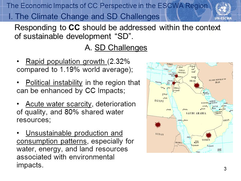 3 The Economic Impacts of CC Perspective in the ESCWA Region Rapid population growth (2.32% compared to 1.19% world average); Political instability in