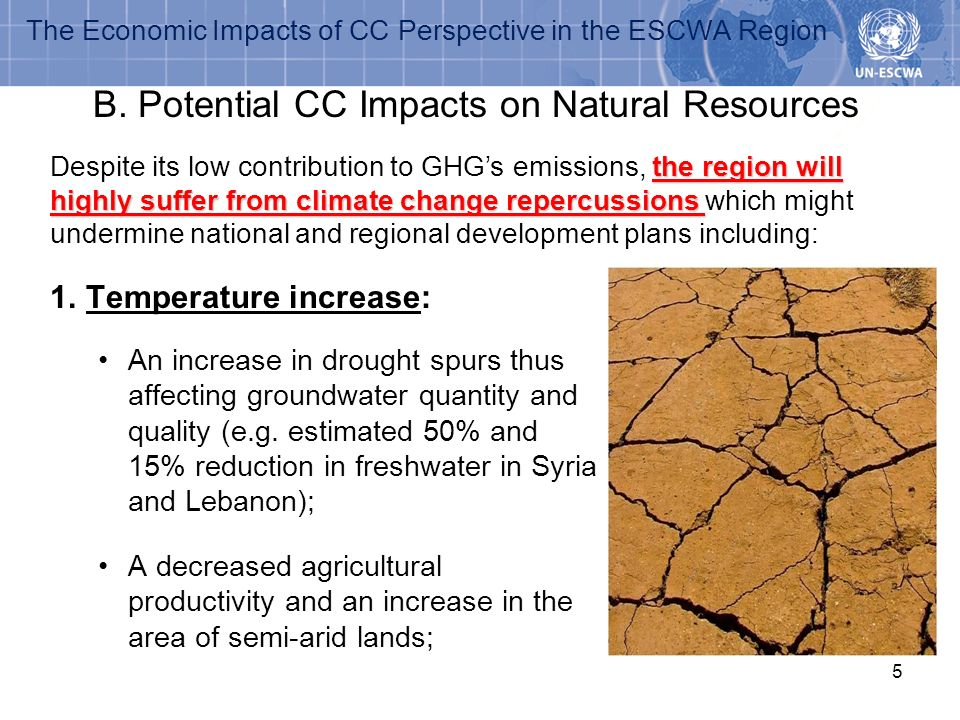 5 1.Temperature increase: An increase in drought spurs thus affecting groundwater quantity and quality (e.g. estimated 50% and 15% reduction in freshw