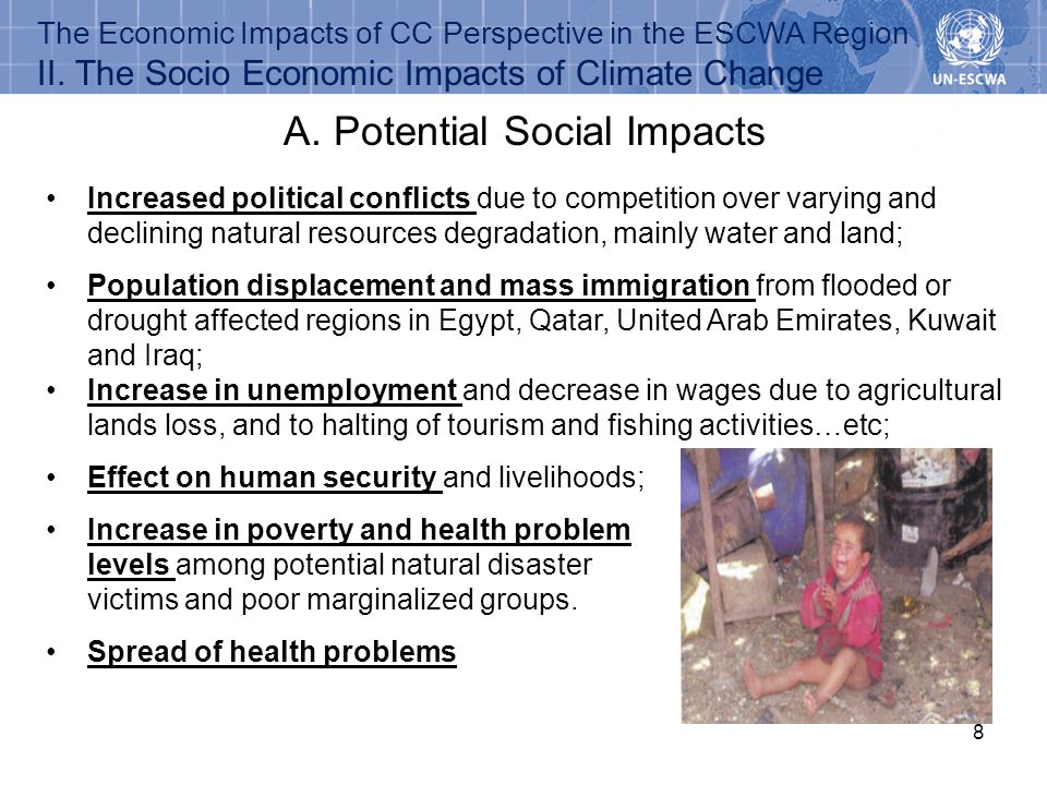 8 A. Potential Social Impacts The Economic Impacts of CC Perspective in the ESCWA Region II. The Socio Economic Impacts of Climate Change Effect on hu