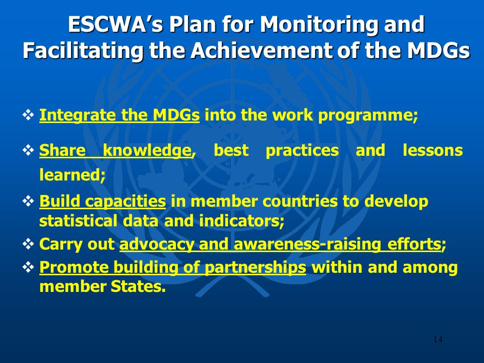 14 ESCWAs Plan for Monitoring and Facilitating the Achievement of the MDGs Integrate the MDGs into the work programme; Share knowledge, best practices