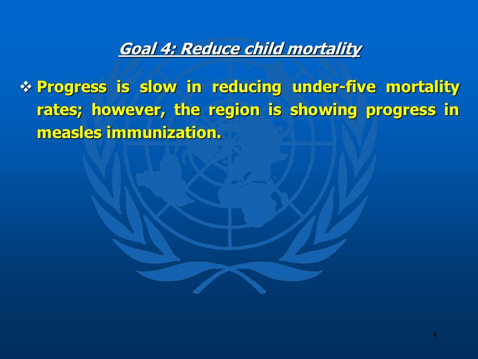 5 Goal 4: Reduce child mortality Progress is slow in reducing under-five mortality rates; however, the region is showing progress in measles immunizat