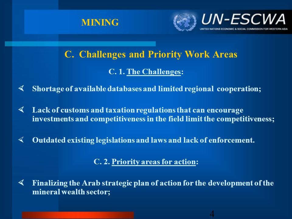 4 MINING C. 1. The Challenges: Shortage of available databases and limited regional cooperation; Lack of customs and taxation regulations that can enc