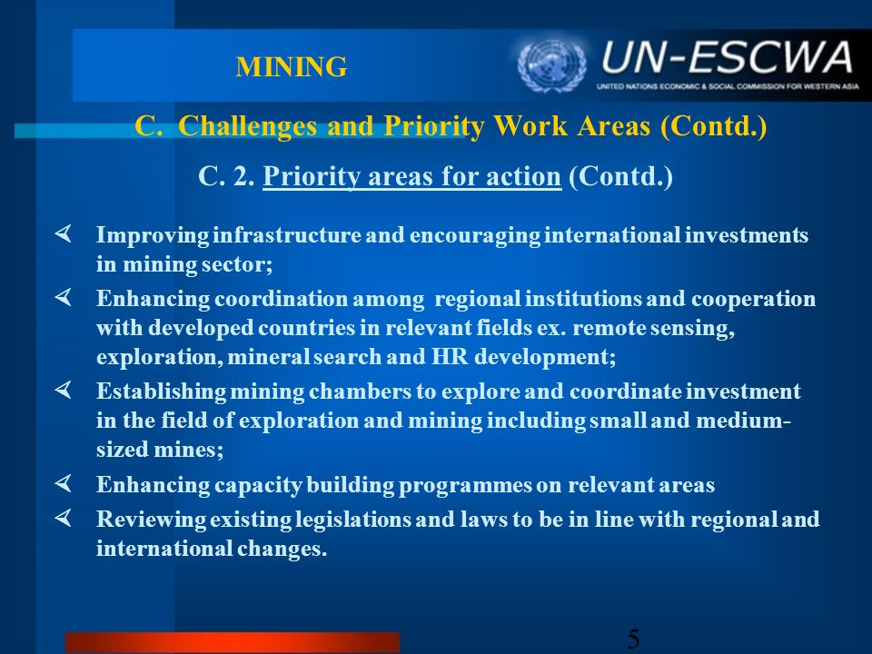5 MINING C. 2. Priority areas for action (Contd.) Improving infrastructure and encouraging international investments in mining sector; Enhancing coord